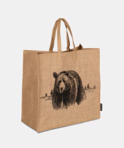 Bærebag i Jute med en illustrasjon av bjørn som motiv.